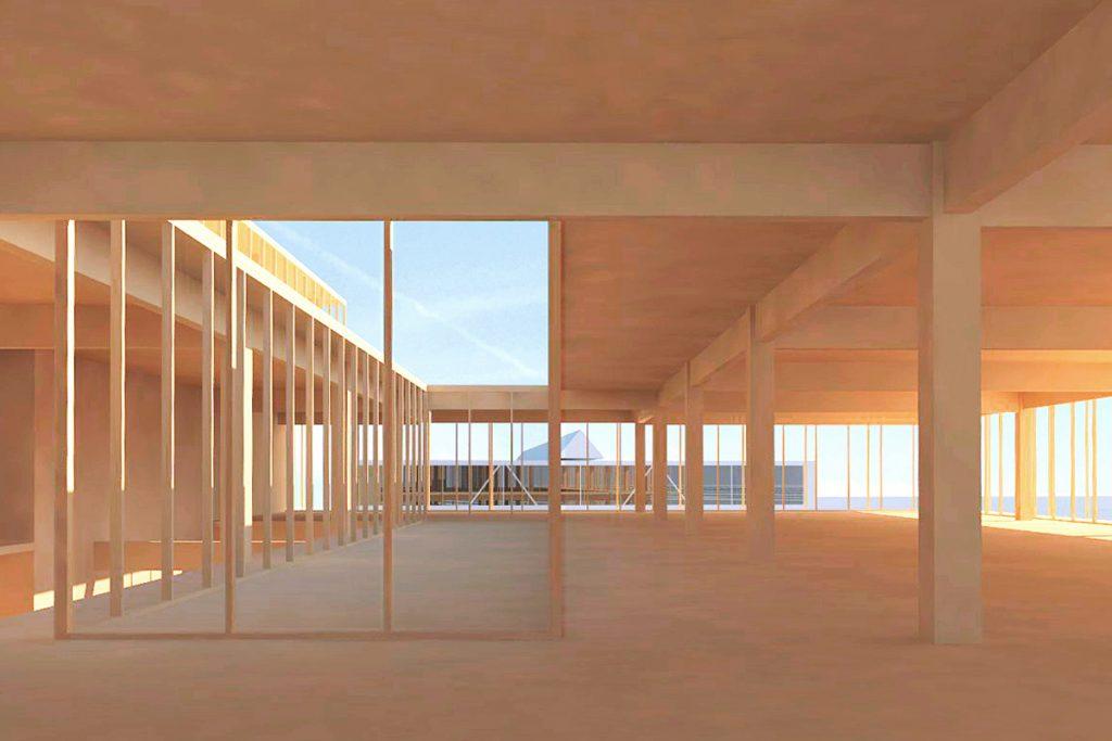Timber building in Ditzingen, Germany. Interior view