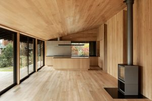 Divine House. Main space looking towards kitchen and dining area