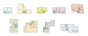 Housing Block. Enlarged floor plans of the units