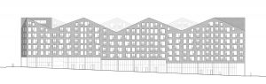 Housing Block. South elevation