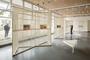 Josef Albers Exhibition. Overall view looking north