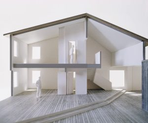 M House. Section view of the two story house-form