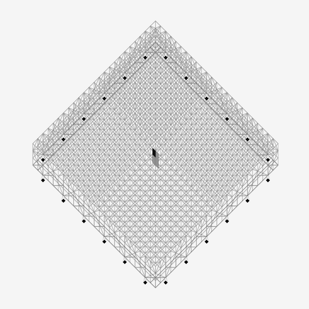 MvdR Universal. Reverse axis structural axonometric. Convention Hall project for Chicago, Illinois (1953-1954)