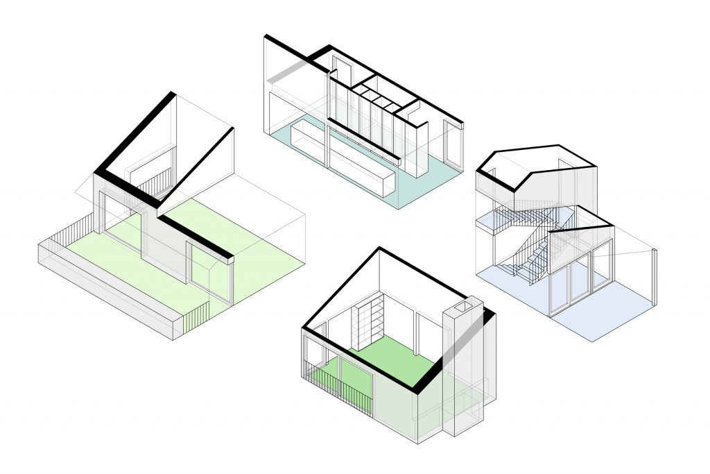 Oregon City House. Isometric diagram of the proposed condition