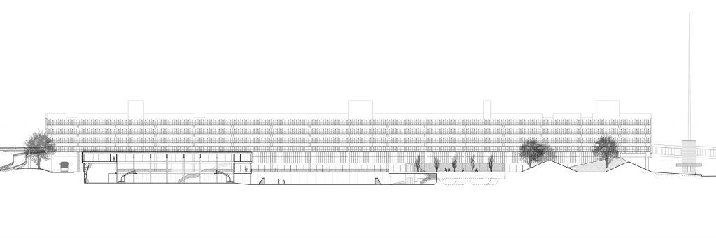 Preston Bus Station. Longitudinal section