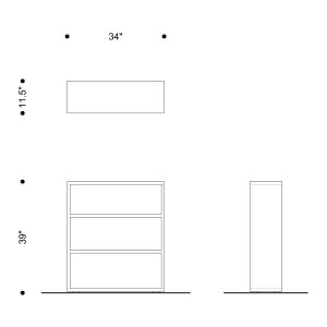 Red Bookcase. Plan and elevations